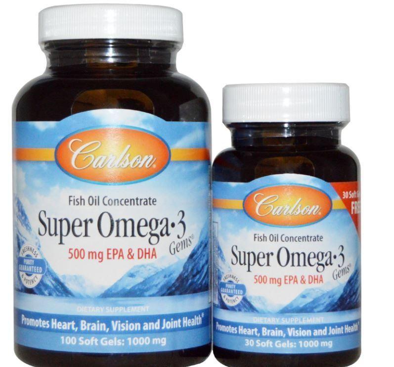 Super Omega 3 Gems Fish Oil Concentrate 1000 Mg 100 Soft Gels