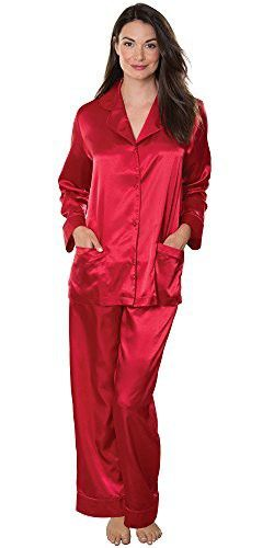7c92e50607 PajamaGram Women  s Ruby Red Satin Pajamas w  Button-Up Top and Pants Red  Medium   8-10