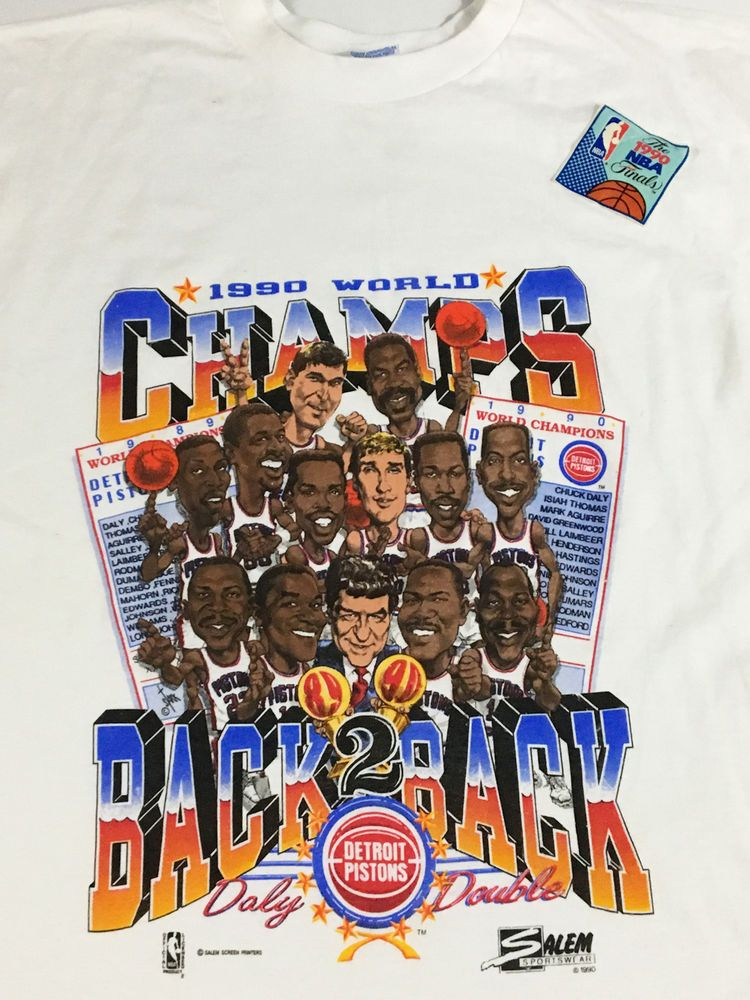 Vintage Dead Stock Detroit Pistons 1990 Champion T Shirt Back To Back Nwt 2x
