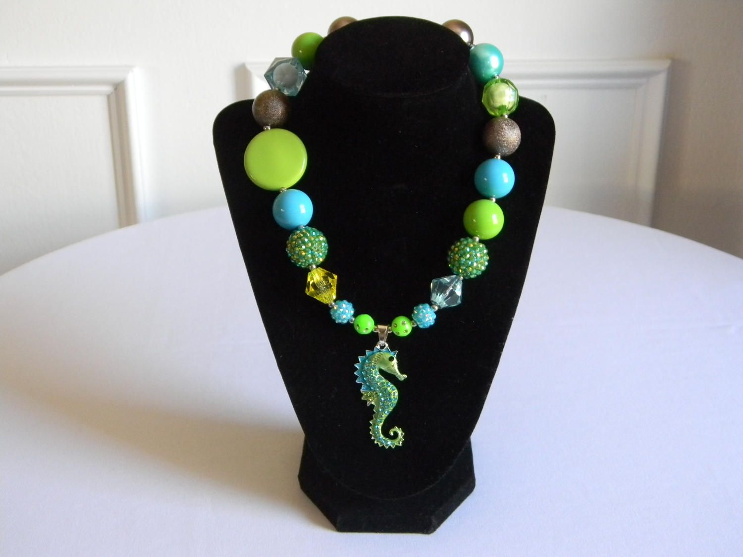 Girls Boutique Necklace Aqua and Green Rhinestone Seahorse Portrait Birthday Gift Pageant Toddler Bubble Bead Jewelry Under the Sea Mermaid by HouseofHairDecor on Etsy