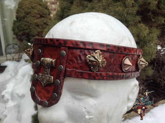 """Viking/Barbarian Leather Headband: Inspired by Conan the Barbarian with a Viking twist! Handmade with vegetable tanned leather, a chocolate cherry stain and soft suede lining. Very comfortable to wear, with fully adjustable lacing in the back! Band is 1.5"""" in width. Only $95.00! E-mail info@tridedana.com to place your order!"""