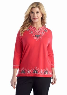 Alfred Dunner  Plus Size Play On Color Embellished Knit Top