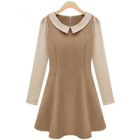Lapel Camel Woolen Dress style $40.00
