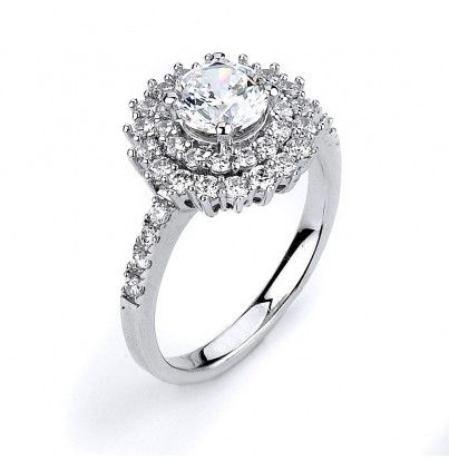 Engagement ring with double halo and rhodium plating.