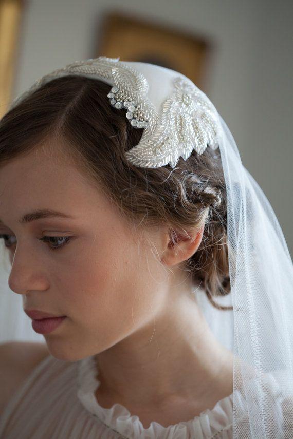8defe567567cf Wedding veil and Art Deco Headpiece. 1930s Veil and Juliet cap veil ...