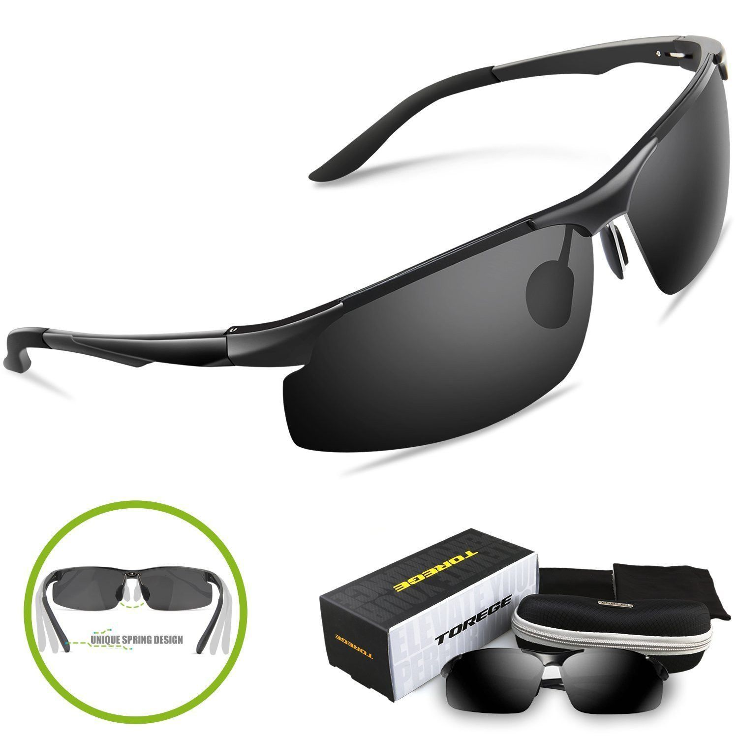 2a48b8796aa26 Torege Men s Sports Style Polarized Sunglasses For Cycling Running Fishing  Driving Golf Unbreakable Al Mg