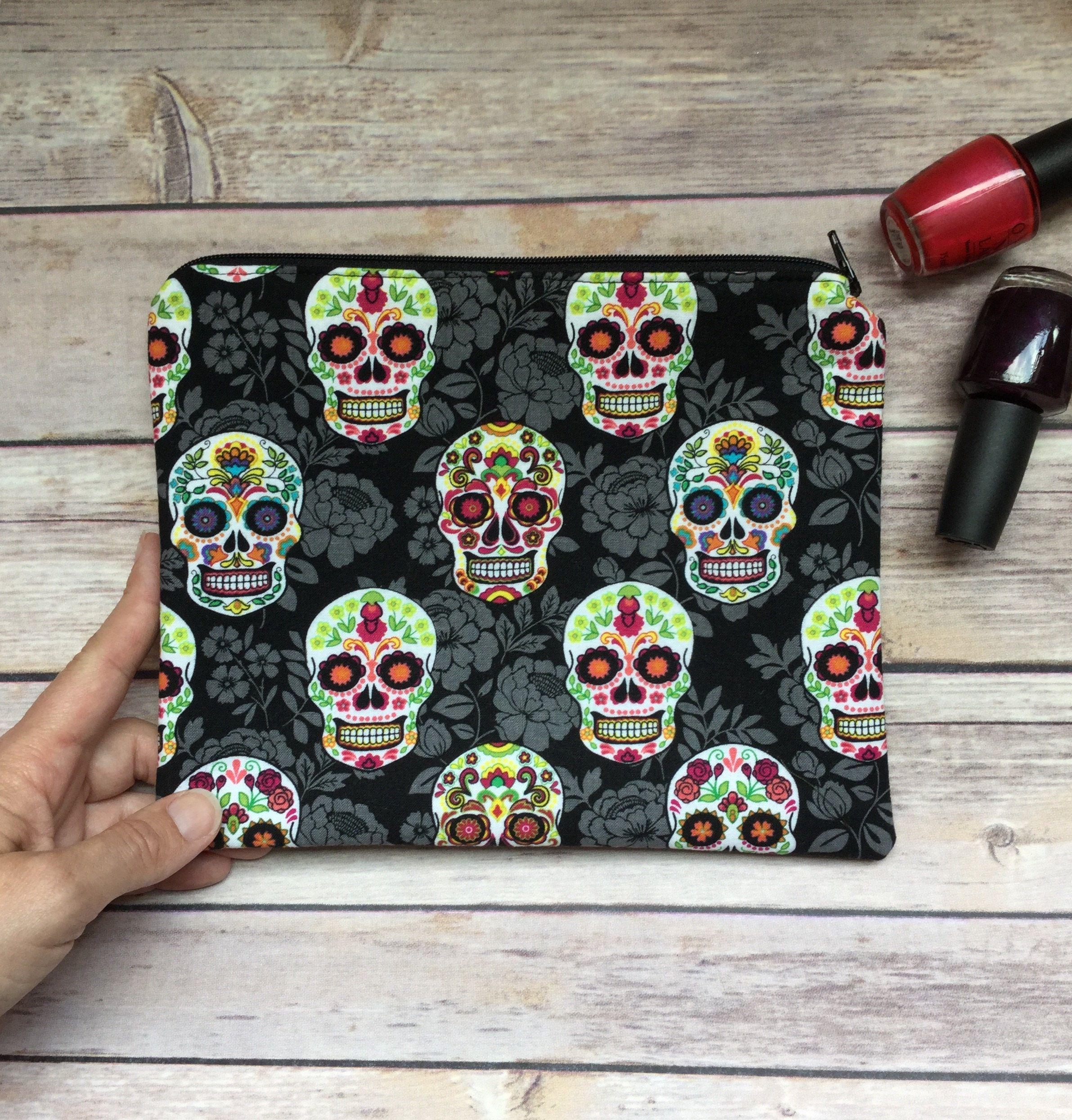 Sugar Skull Makeup Bag Sugar Skull Cosmetic Bag Halloween