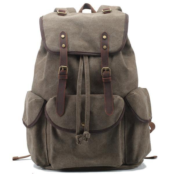 Handmade Army Green Waxed Canvas Backpack Travel Backpack School Backpack Hiking Rucksack FB06