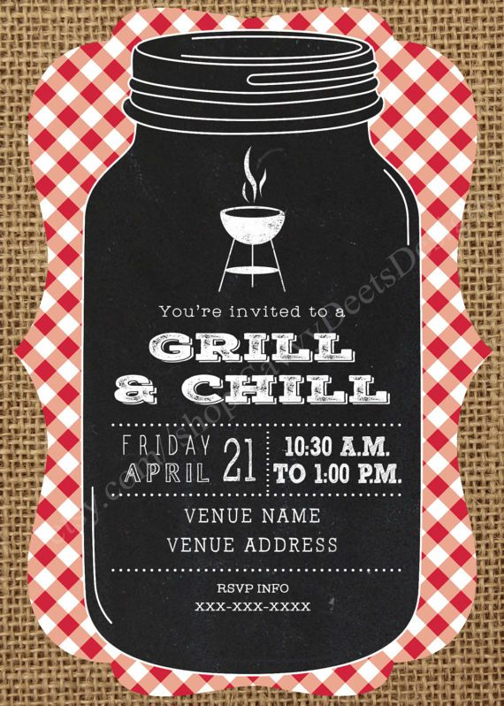 Grill \ Chill Invitation Printable - Grill and Chill Invitation - bbq invitation template