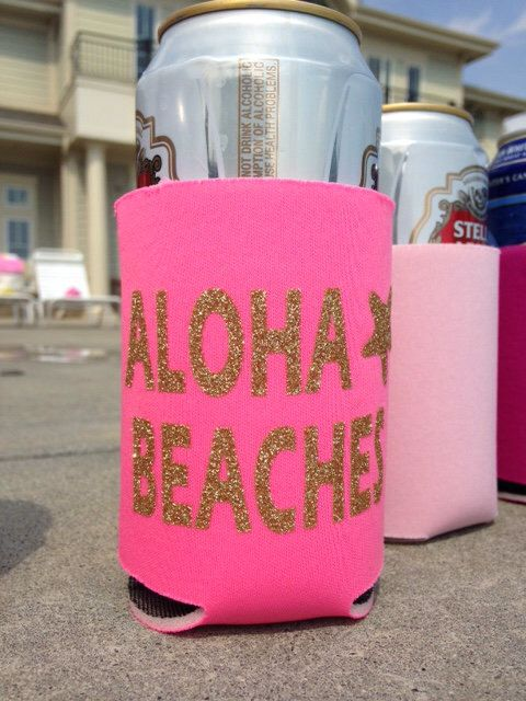 Aloha Beaches Can Cooler, Funny Can Cooler, Beverage Insulator, Drink Holder, Party Can Cooler, Bachelorette Party, Can Cooler by RomanticSouthern on Etsy