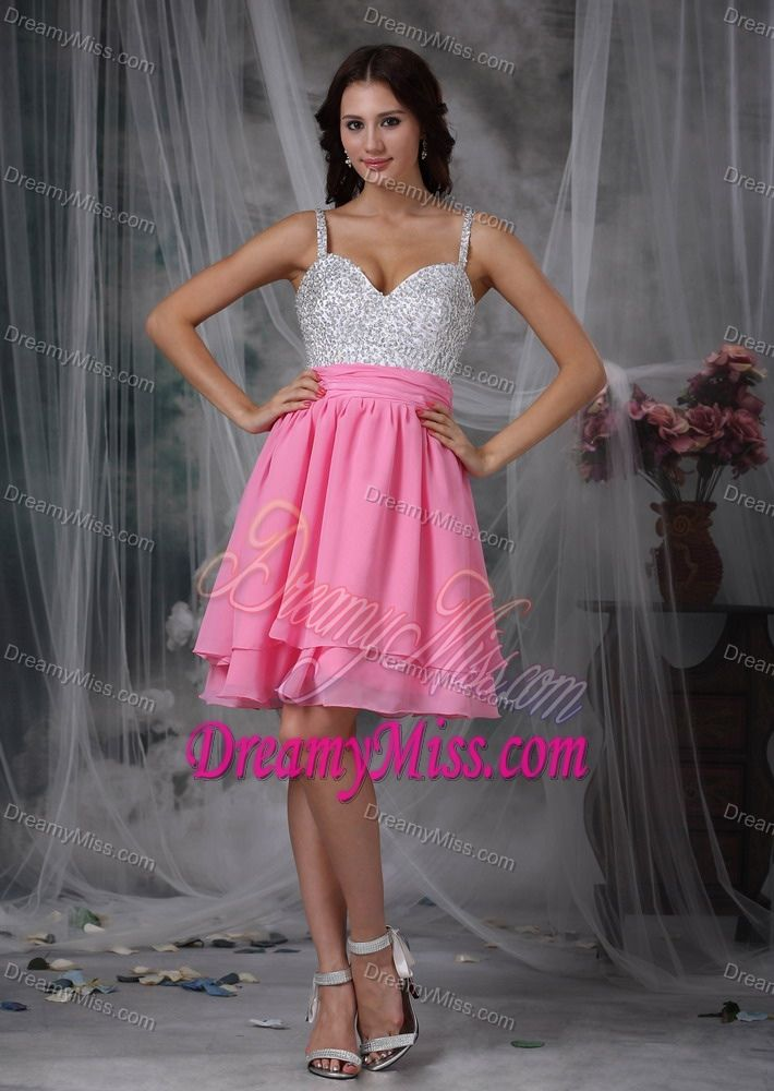 Cute Side Zipper Pink and White Chiffon Short Prom Attire Fast ...