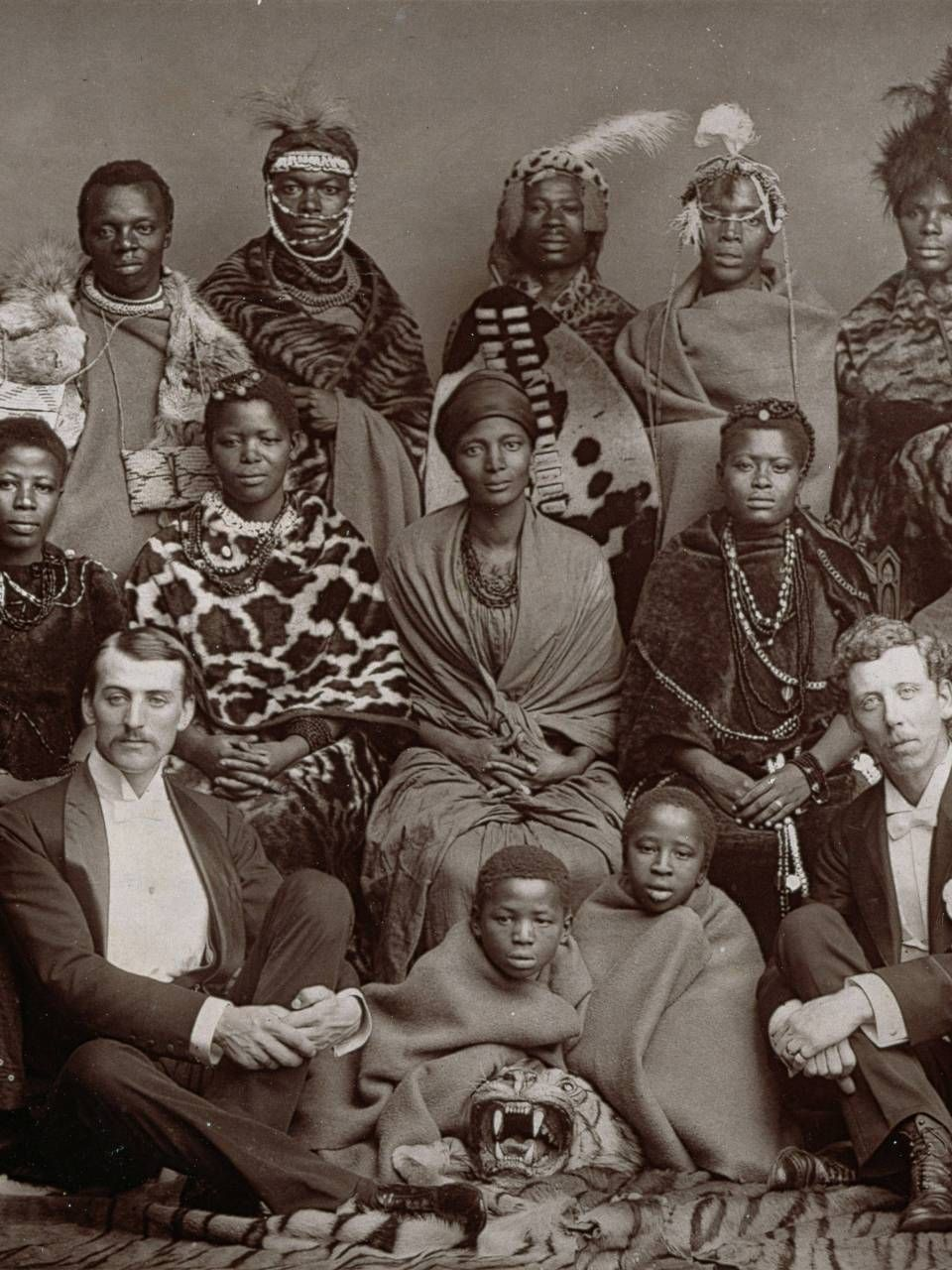 A fabulous group portrait of the African Choir, wearing