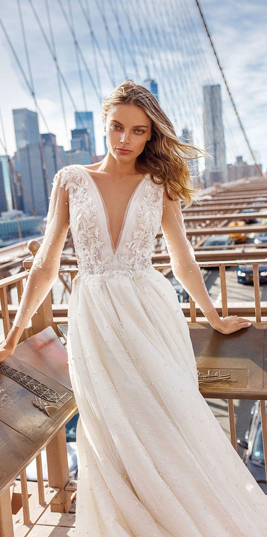Eva Lendel Wedding Dresses – Sunrise Bridal Collection Deep v plunging neckline embellishment long sleeves wedding dress #weddingdress ##weddinggown #weddingdresses #bridedress #bridalgown