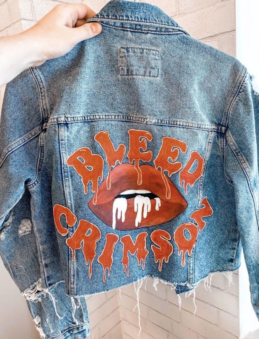 Custom College Jean Jacket Jean Jacket Design Hand Painted Denim Jacket Diy Denim Jacket [ 1084 x 828 Pixel ]