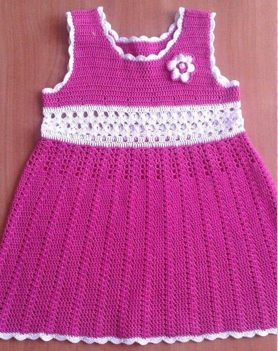 Patron vestido con cuello redondo para niña a crochet | vestiditos ...