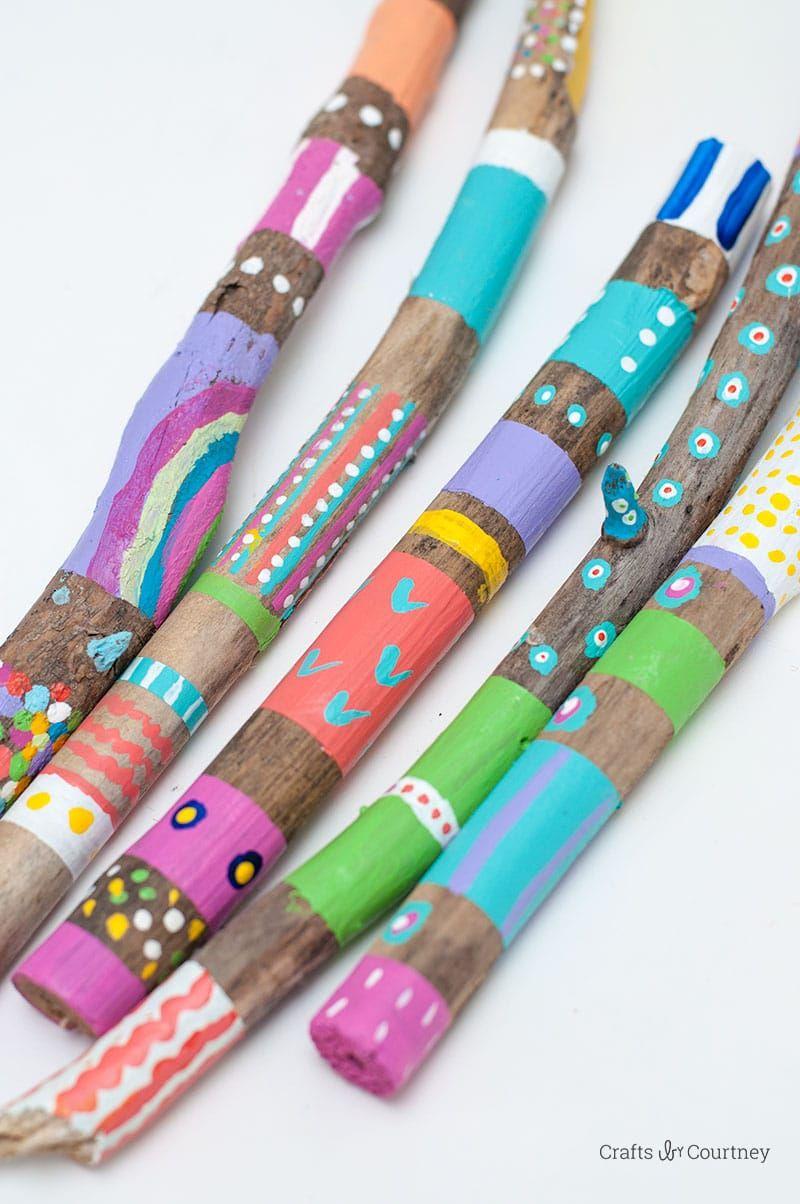 Painted Stick Nature Craft #uniquecrafts