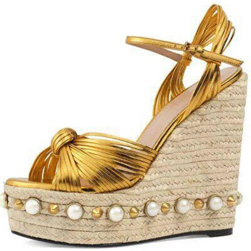 Super High heels sandals women 2017 summer Fashion Princess 11cm wedges heel Straw genuine pigskin liner ankle-strap lady shoes