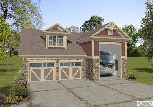 A0803 rv garage 7 with living area craftsman maroon for Rv garage with living quarters