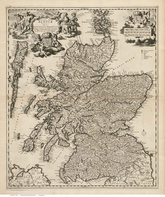 Scotland 1689 Old Map - Visscher - Reprint | Scotland Old Maps