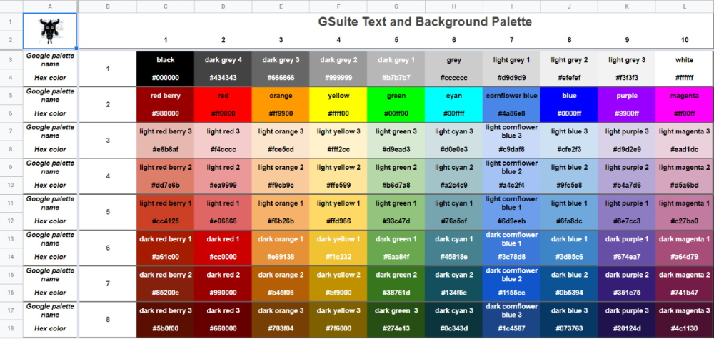Google Apps Script Hexadecimal Color Codes for Google
