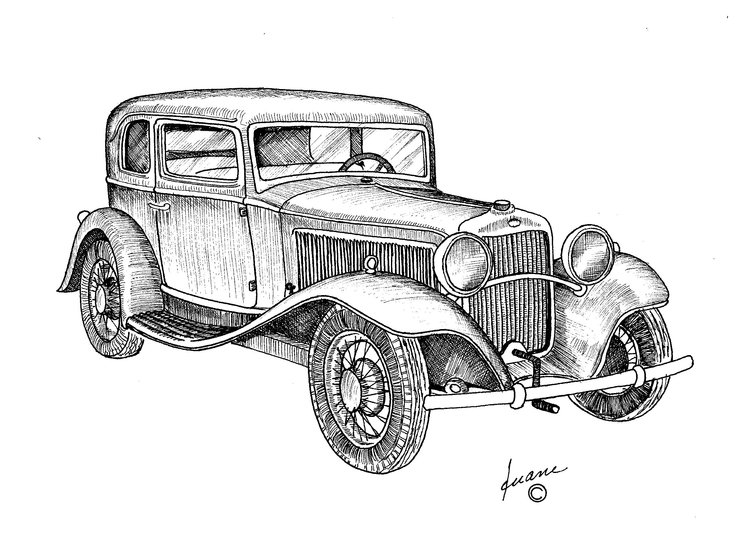 Auto Oldtimer Ausmalbilder : Vintage Car With Hand Crank Pen And Ink Drawings Pinterest