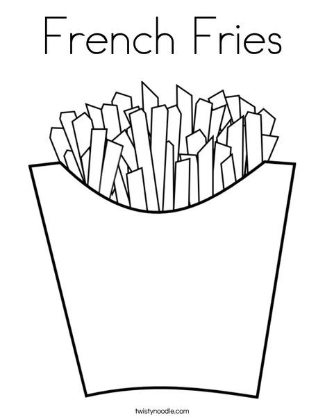 French Fries Coloring Page Twisty Noodle Food Coloring Pages