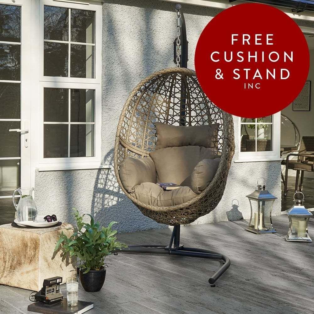 Luxury Sackmills Hove Hanging Rattan Pod Egg Chair Balcony