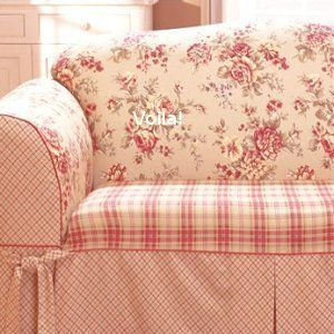 Sure Fit Shabby French Floral Toile Plaid Sofa Slipcover