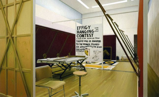 Andrew Grassie, Installation, Mike Kelley, Goetz Collection, München, tempera on paper on board, 12.7 x 20.8 cm, 2009