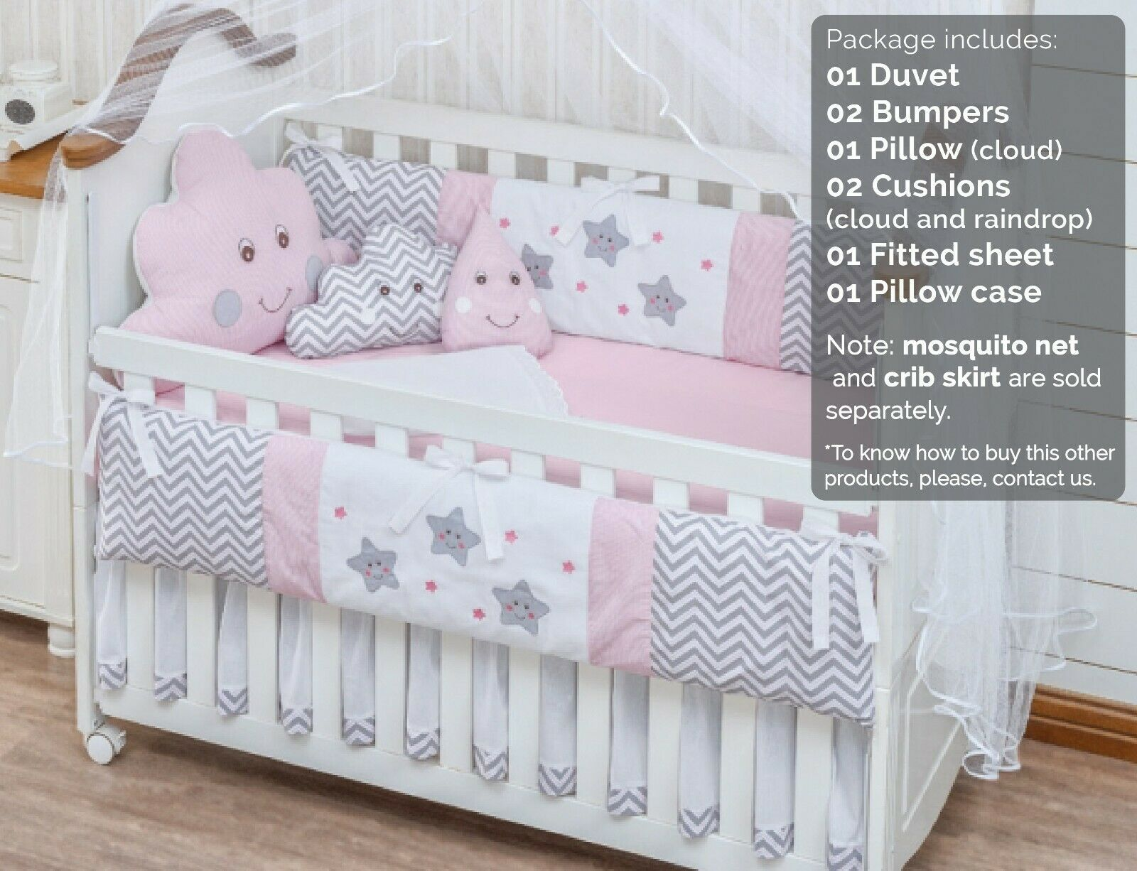 Details About Raindrop Cloud Star Pink Baby Girl 08 Pc Nursery