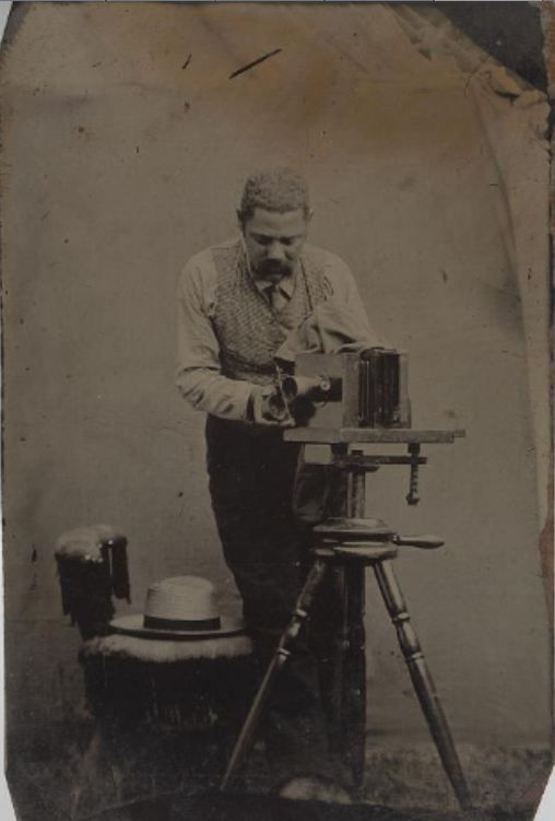 ca. 1865, [tintype portrait of a photographer with his camera] via the Smithsonian Institution, National Portrait Gallery