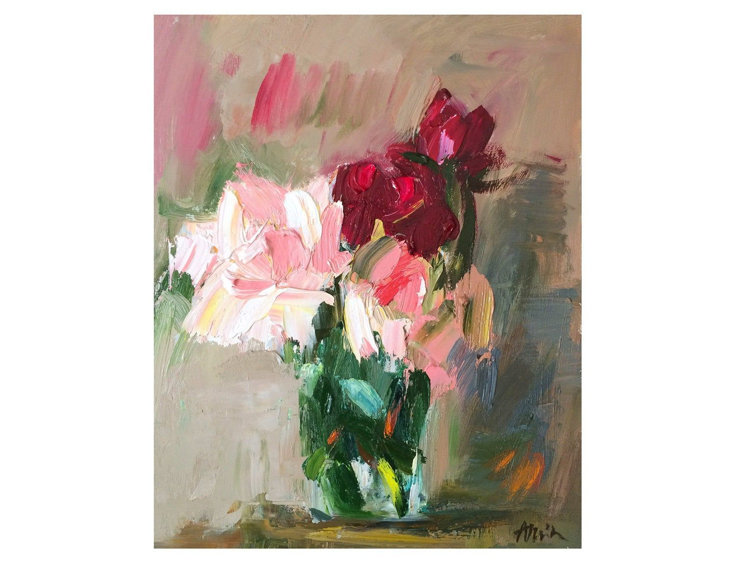 Pink And Burgundy Red Roses Original Floral Oil Painting Flower