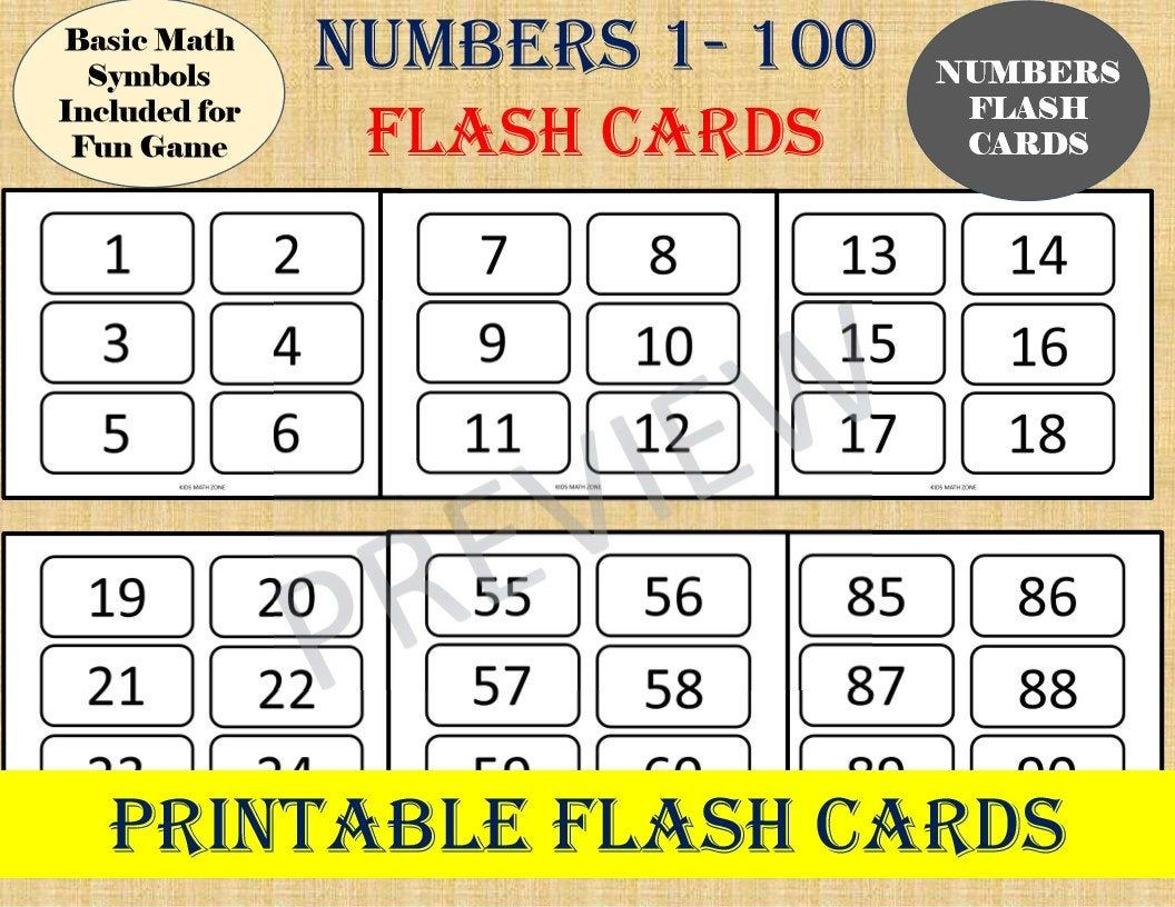 Numbers Flash Cards Numbers 1 To 100 Basic Math Games