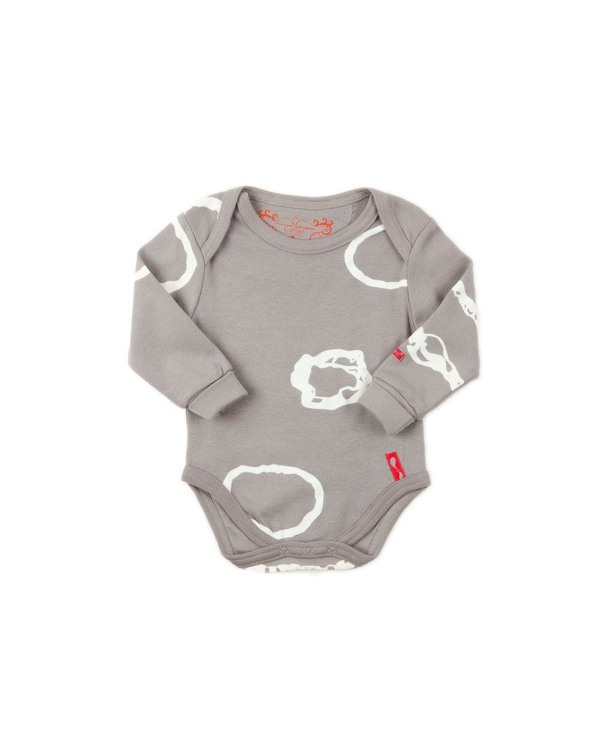 Kushies Baby Stone Organic Cotton Bodysuit (tag on separate piece of fabric, ribbed cuffs)