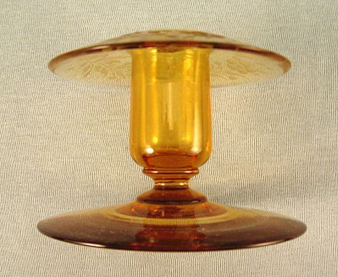 Amber cut-glass candle holder circa 1920