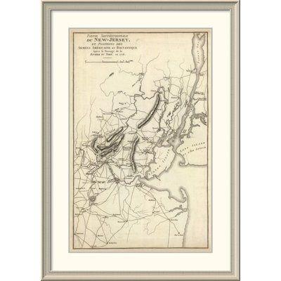 East Urban Home 'Septentrionale Du New Jersey, Et Positions Des Armees Americaine Et Britannique En 1776' Framed Print Size: