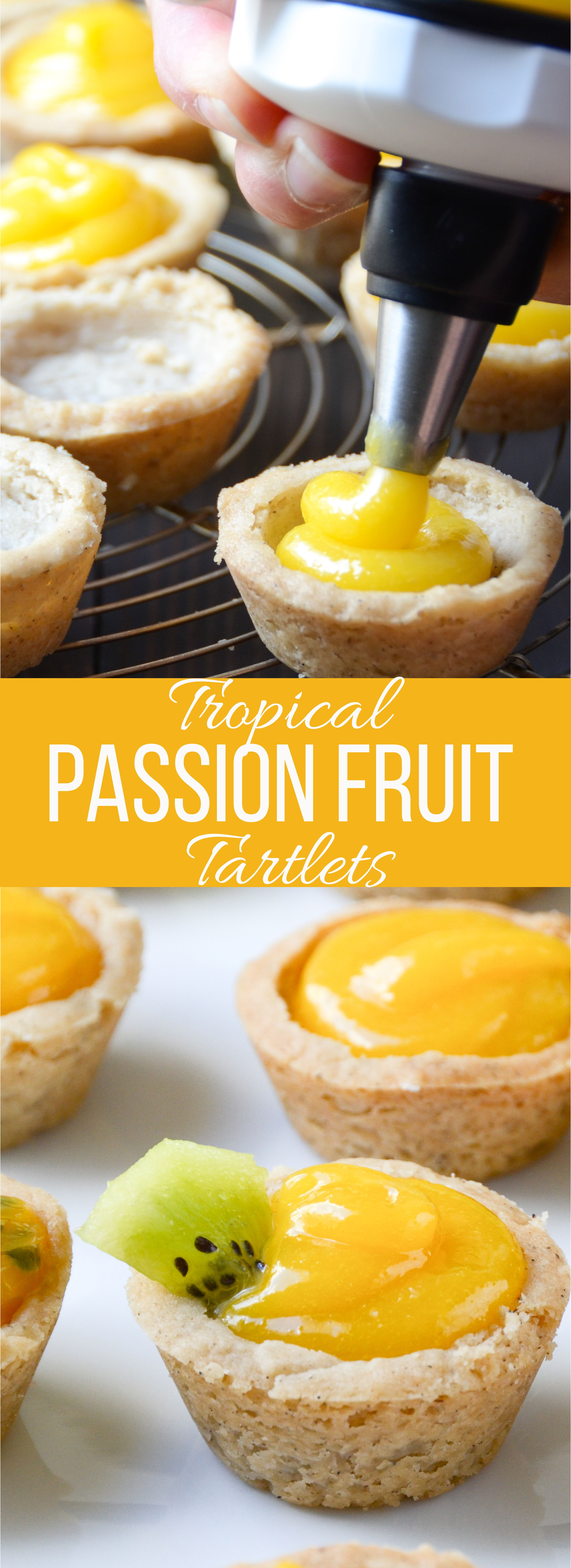 Tropical Passion Fruit Tartlets is part of Fruit tartlets - With a rich buttery shortbread crust and an impossibly addictive passion fruit curd, your guests will be swooning over these little tarts!