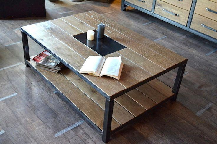 Nos Tables Basses Bois Metal Au Design Industriel On Pinterest Table Basse Bois Table Basse Table Basse Acier