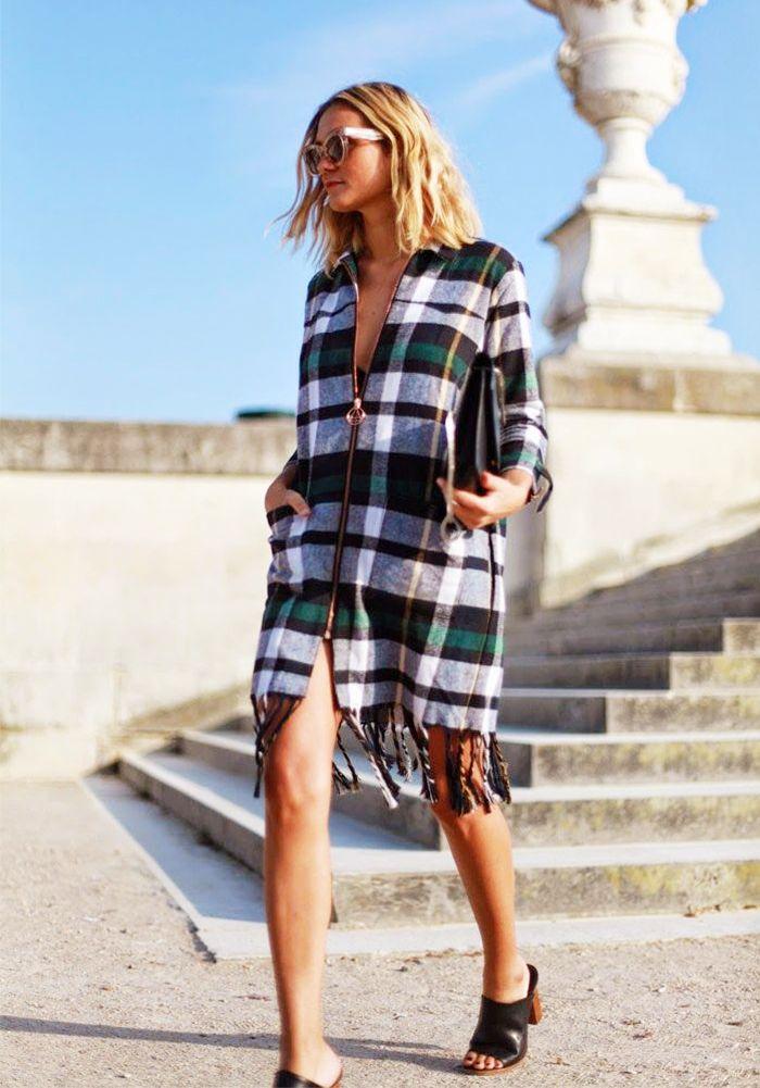 Plaid sweater dress + mules