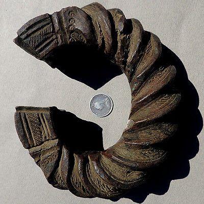 old antique 2.25 lbs 1.2 kilo bronze decorated african bracelet igbo nigeria #77
