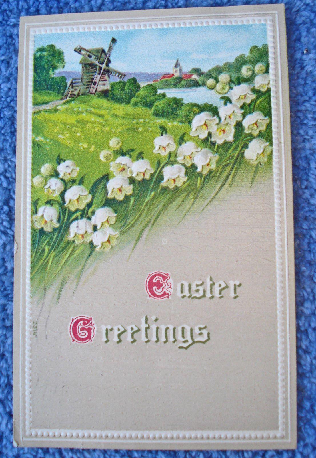 Vtg Easter Post Card Anthro Peasant Rabbits 1910 Era Glitter