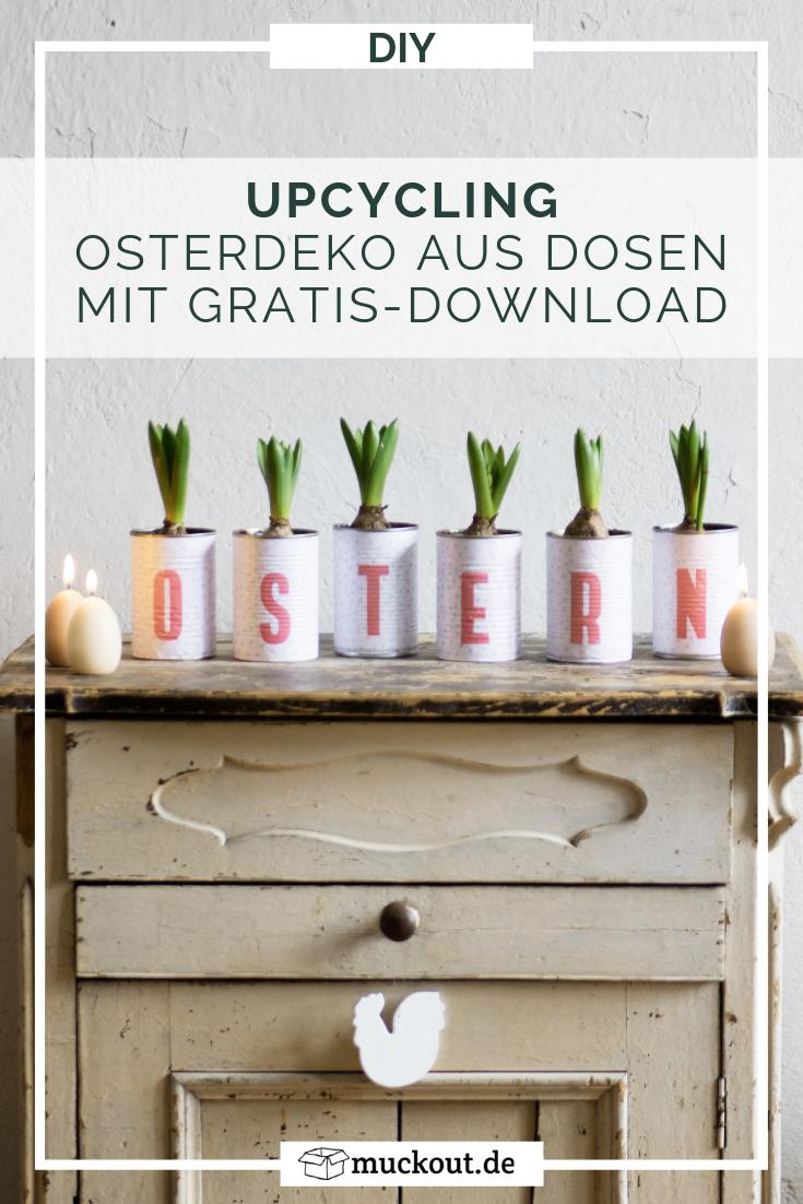 Upycling-Oster-Deko: Dosen für Pflanzen mit Freebie