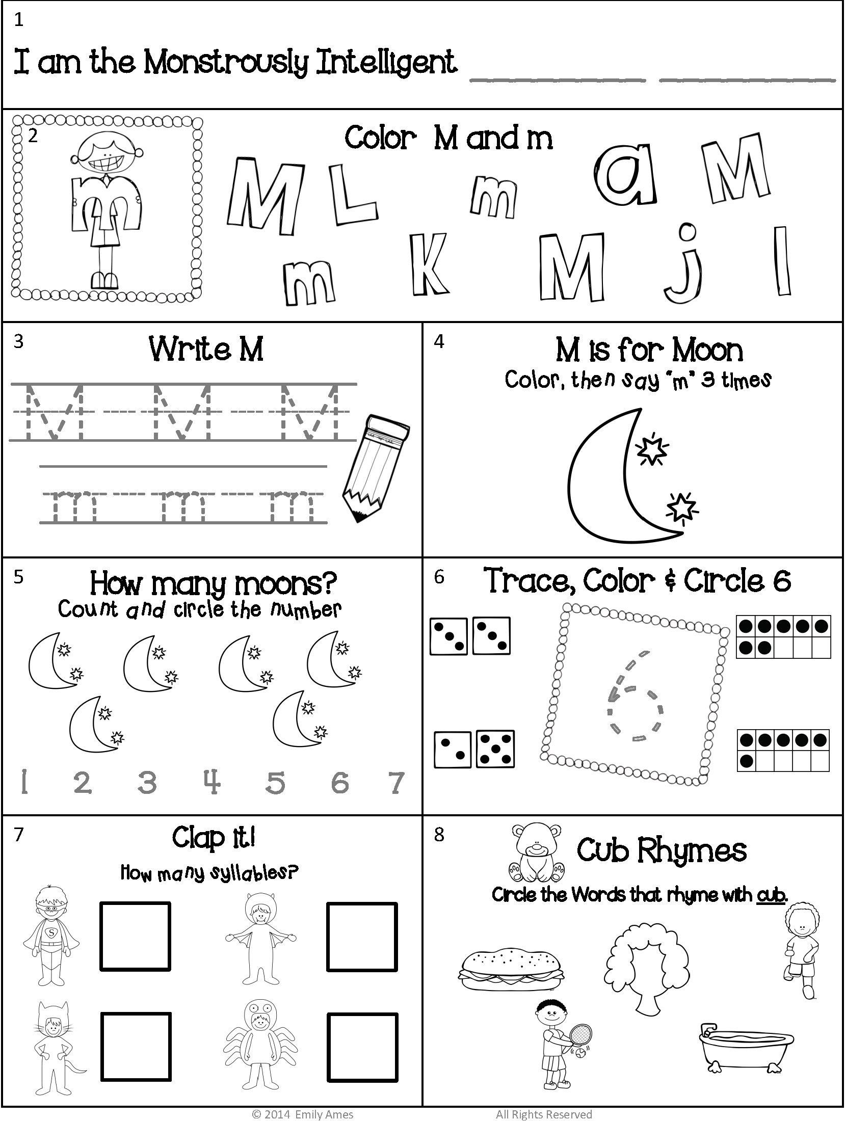 Syllables Worksheet For Kindergarten In