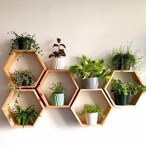 Set of 6 Medium 5.5 Deep Hexagon Shelves, Honeycomb Shelves, Floating Shelves, Geometric Shelves