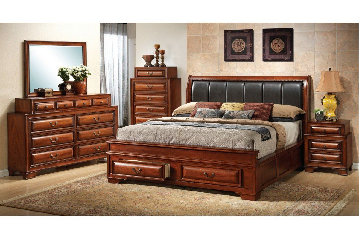 King Size Bedroom Set with Mattress north Coast Cherry King Size