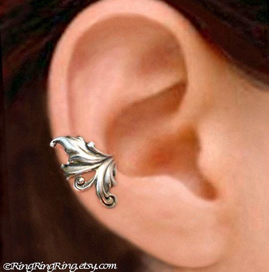 Royal Leaf Ear Cuff Sterling Silver Earrings Sterling