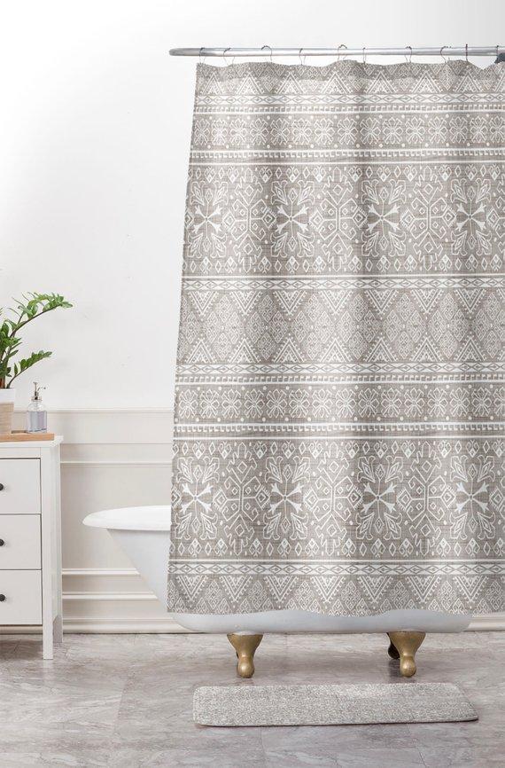 Boho Shower Curtain Neutral Beige Bathroom Grand Bazaar