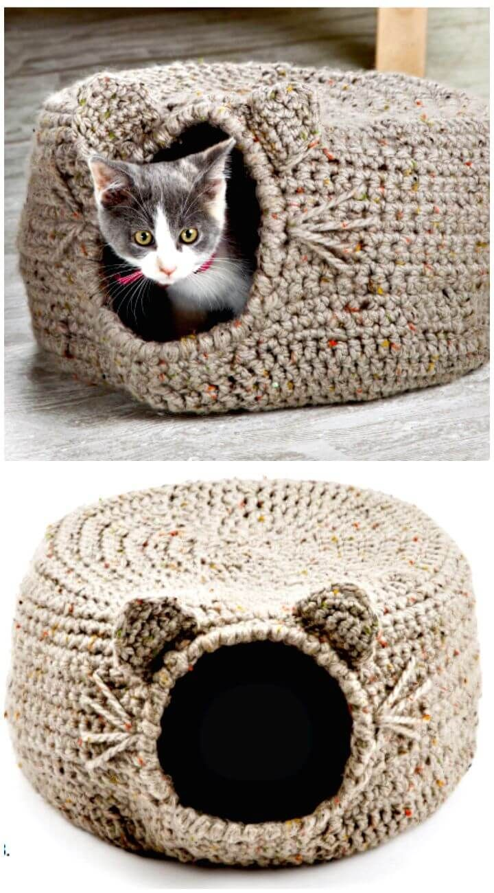 20 Free Crochet Cat Bed & House Patterns #crochetpatterns