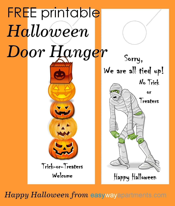 FREE printable Halloween Door Hanger For Your Apartment