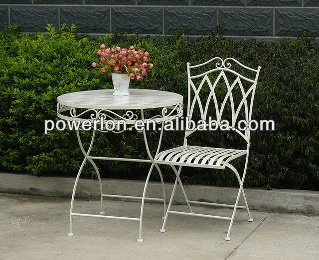 Eco Friendly Metal Wrought Iron White Patio Garden Furniture